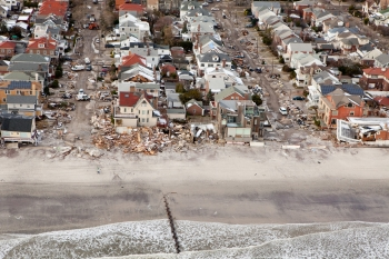 Aerial views of Hurricane Sandy damage to homes on Long Beach