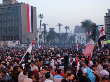 a huge crowd of Egyptians gathered in Tahrir Square