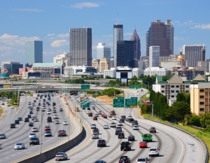 traffic and skyline in Atlanta