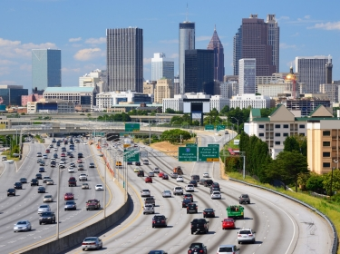 Atlanta traffic and skyline