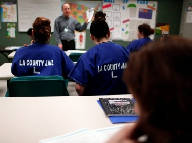 Women participate in a nutrition class at the Los Angeles County women's jail