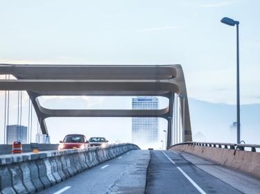 Milwaukee bridge and highway, downtown in heavy fog, photo by soupstock/AdobeStock