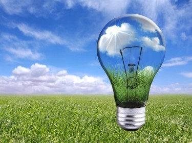 Lightbulb in a natural landscape, photo by Thinkstock