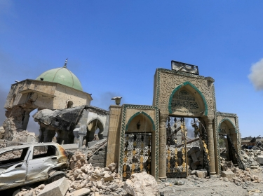 The Grand al-Nuri Mosque where Abu Bakr al-Baghdadi declared a new caliphate in July 2014 is seen in ruins after it was retaken by Iraqi forces from Islamic State militants, June 30, 2017