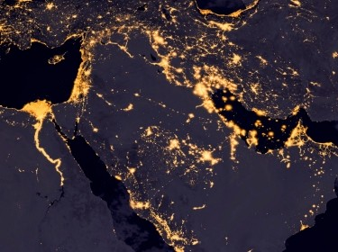 A view from space of the Middle East, West Asia, and East Europe at night, photo by wael alreweie/Getty Images