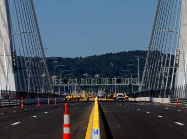 The West bound roadway of the new Governor Mario M. Cuomo Bridge that is to replace the current Tappan Zee Bridge over the Hudson River is seen ahead of on opening ceremony for the bridge in Tarrytown, New York, U.S., August 24, 2017