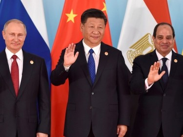 Russian President Vladimir Putin, Chinese President Xi Jinping, and Egypt's President Abdel-Fattah el-Sisi at the 2017 BRICS Summit in Xiamen, China, September 5, 2017, photo by Kenzaburo Fukuhara/Reuters/Pool