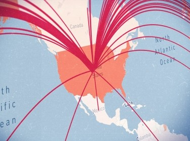 A map of the continental United States is shown with lines representing COVID-19 importation risk