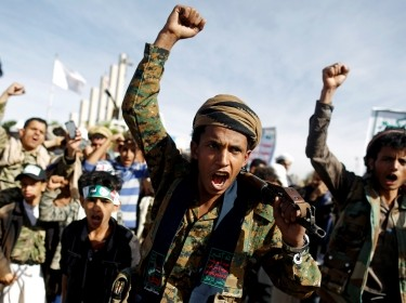 Supporters of the Houthi movement attend a rally to mark the 4th anniversary of the Saudi-led military intervention in Yemen's war, in Sanaa, Yemen, March 26, 2019, photo by Khaled Abdullah/Reuters
