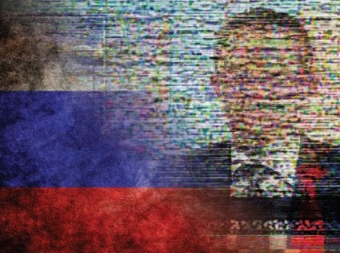 TV news anchor obscured by screen of interference over a Russian flag, images by namussi/Getty Images and Piotr Krzeslak/Adobe Stock; design by Rick Penn-Kraus/RAND Corporation