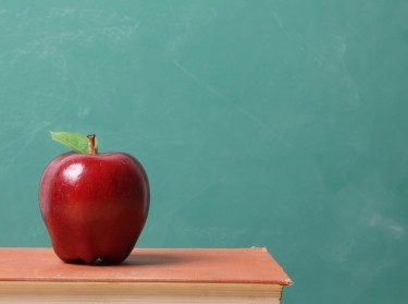 apple and chalkboard