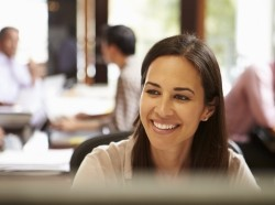 smiling woman at work