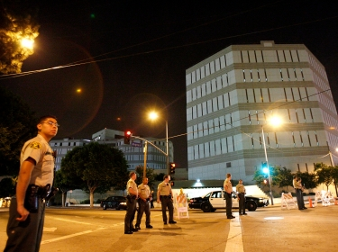 County sheriffs patrol the outside of the Twin Towers Correctional Facility in Los Angeles
