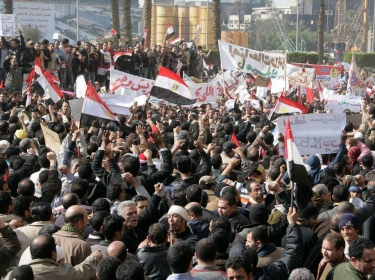 Anti and pro-Mubarak protesters clash at Tahrir square, Cairo, Egypt, February 2011
