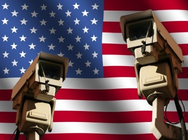 two CCTV cameras and American flag illustration