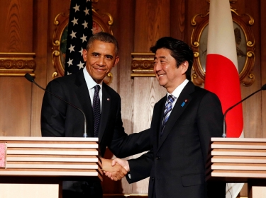 President Barack Obama with Japan's Prime Minister Shinzo Abe at a joint news conference in Tokyo, April 24, 2014