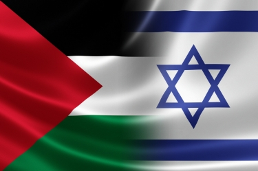 Merged Israeli and Palestinian flags