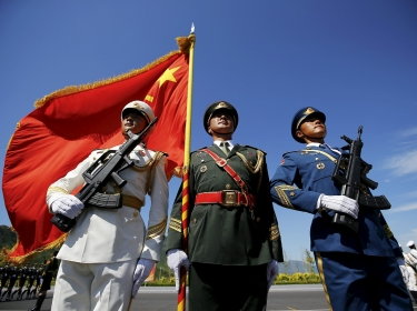 Officers of China's People's Liberation Army training for a parade to mark the 70th anniversary of the end of the World War Two, in Beijing, China, August 22, 2015