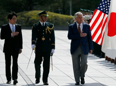 U.S. Secretary of Defense Chuck Hagel, accompanied by his Japanese counterpart Itsunori Onodera, visits the Defense Ministry in Tokyo April 6, 2014