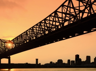 New Orleans skyline at sunset