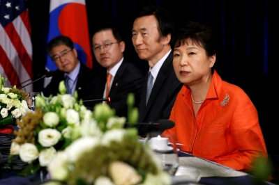 South Korea's President Park Geun-hye delivers remarks after a bilateral meeting with U.S. President Barack Obama, on the sidelines of the ASEAN Summit, in Vientiane, Laos, September 6, 2016