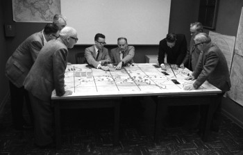 RAND researchers demonstrating a gaming exercise for board members in Santa Monica in 1966.