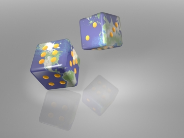Rolling dice with world maps