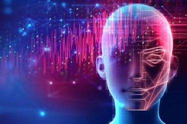 Robotic human head on abstract technology background