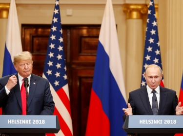 U.S. President Donald Trump and Russian President Vladimir Putin hold a joint news conference after their meeting in Helsinki, July 16, 2018