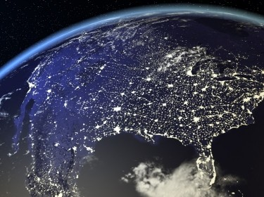 A view from space of the USA at night, photo by NASA / Getty Images