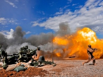 a U.S. Army howitzer is fired