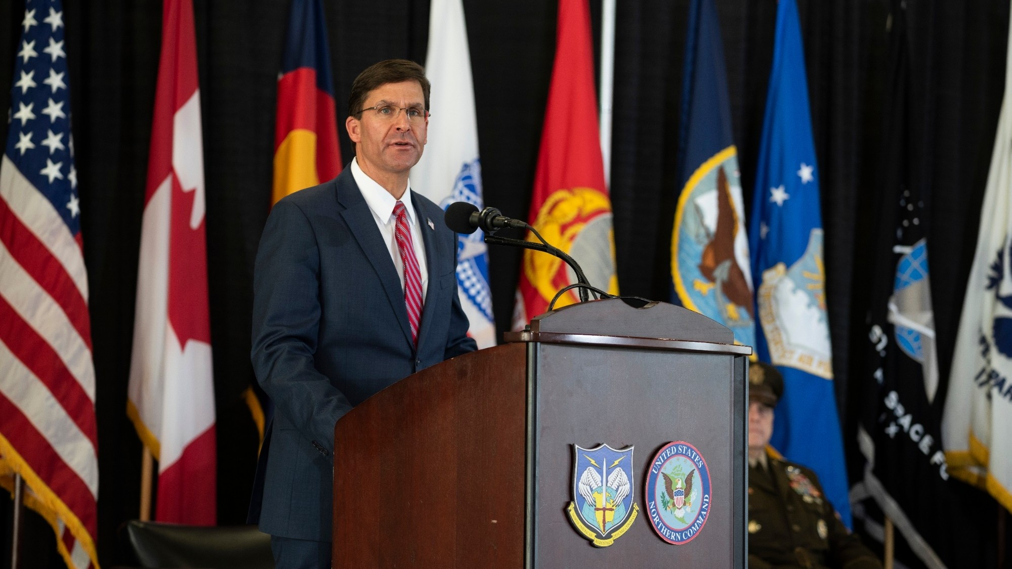U.S. Secretary of Defense Dr. Mark T. Esper speaks to the men and women of the North American Aerospace Defense Command