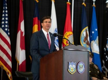 U.S. Secretary of Defense Dr. Mark T. Esper speaks to the men and women of the North American Aerospace Defense Command