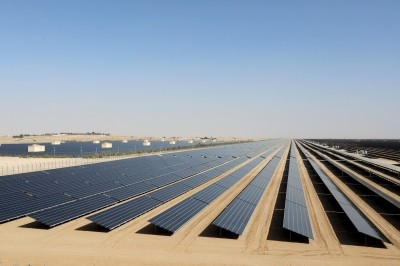 A field of solar photovoltaic panels that form part of the Mohammed bin Rashid Solar Park in Dubai, United Arab Emirates, on 17 January 2018
