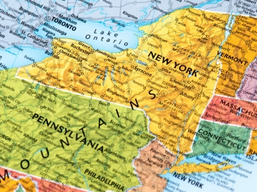 Map highlighting New York and Pennsylvania