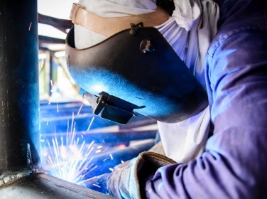 Welding a steel structure
