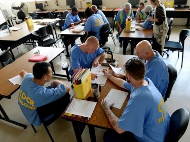 Prisoners in a classroom in Chino State Prison