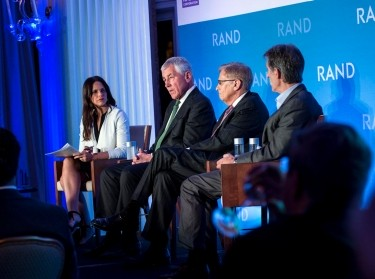 Soledad O'Brien, Chuck Hagel, Michael Rich, and Michael Lynton at One Night with RAND, November 11, 2015