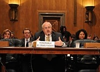 FEMA Administrator W. Craig Fugate at the Ad Hoc Subcommittee on Disaster Recovery of the Homeland Security & Governmental Affairs Senate Committee on Stafford Act,  photo courtesy of FEMA/Koplitz
