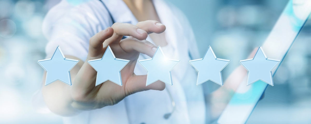Concept image of health care worker evaluating care and giving it 5 stars.
