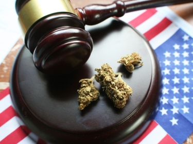 Gavel and marijuana buds on top of small American flag, photo by Darren415/Getty Images