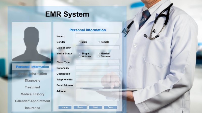 Electronic medical record screen superimposed over a doctor looking at an electronic tablet, photo by stnazkul/Getty Images