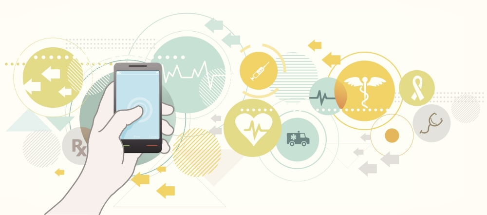 Illustration of a hand holding a smartphone with health care images in circle icons in the background, image by exdez/Getty Images