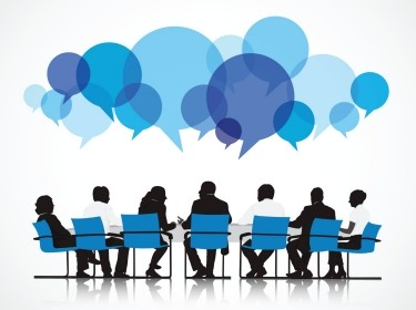 Group of people having a discussion, with word bubbles above their heads, image by rawpixel.com/Adobe Stock