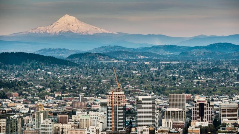 Portland, Oregon and Mount Hood Panorama