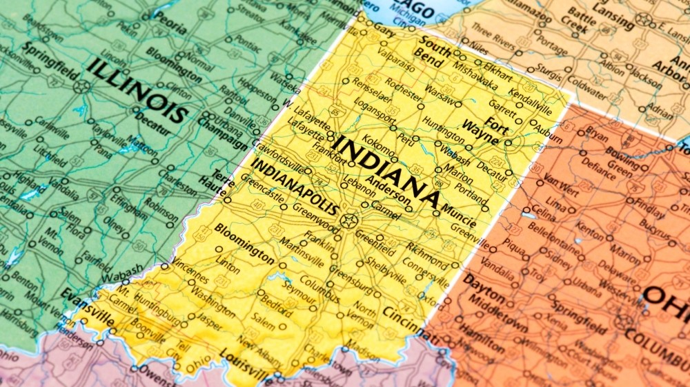 Map of the state of Indiana