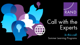 Media Conference Call on Summer Learning Programs