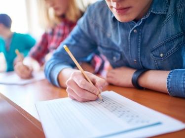 Boy taking a standardized test
