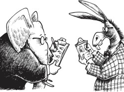 Political cartoon of a Republican elephant and Democrat donkey