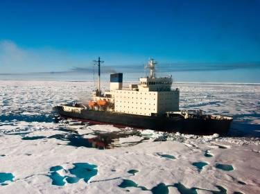 A Russian icebreaker heading through the Northeast Passage in the Arctic Ocean
